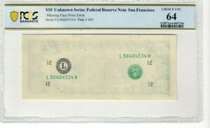 Federal Reserve Note $10 Missing Face Print Error Choice UNC 64 CO626