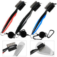 3Pcs Dual Sided Golf Club Cleaning Brush Groove Cleaner Ball Clip Spike Bristles
