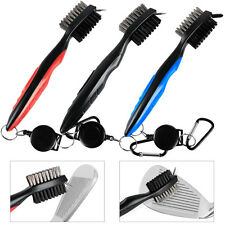 3 Pcs Dual Bristles Golf Club Brush Cleaner Ball Cleaning Clip Groove w/Spike
