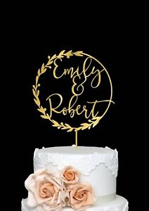 Cake Topper for Wedding with First Names Personalized Rustic Style Wedding