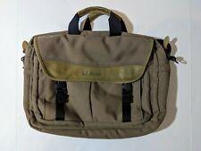 L.L. Bean Canvas Messenger Briefcase Satchel Brown Tan