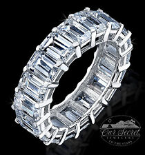 9 ct taglio a SMERALDO ANELLO ETERNITY TOP zirconia cubica argento sterling