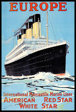 L'EUROPA American Red Star White Star Cruise Line RMS OLYMPIC nave POSTER stampati