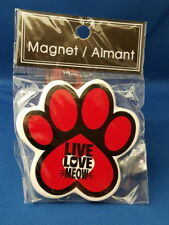 CAT Animal Refrigerator Ceramic MAGNET - LIVE LOVE MEOW Red Paw Print