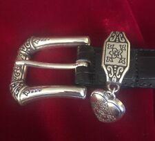 BRIGHTON Women's Black Croc Leather Belt #B7103 Heart Charm Buckle M /30