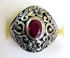 Genuine Ruby & Silver Flower Ring / sz 10 / 925 Sterling Silver / 1.83cts, 7.5g