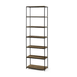"6-Shelf Metal Frame Bookcase 71"" Farmhouse Industrial Furniture Rustic Brown"