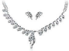 Gunmetal Silver Tone Spotted Cat Leopard Crystal Rhinestone Earring Necklace Set