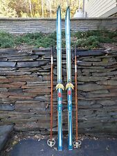 """ANTIQUE Wooden 70"""" Long Skis Great Finish with Metal Binding Signed TRYSIL-KNUT"""