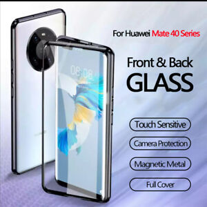 For Huawei Mate 40 Pro Pro+ Luxury Metal Magnetic Double Glass Case Full Cover