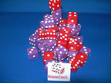 NEW 12 ASSORTED OPAQUE DICE 16mm RED AND PURPLE, 2 COLORS 6 OF EACH COLOR