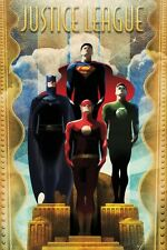 Justice League Team Art Deco Poster - Comic Cover Art size 24x36