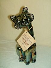FENTON ART GLASS IRIDESCENT CARNIVAL GLASS ALLEY CAT WITH ORIGINAL BOX & TAG
