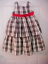 Girls Party Dress Size 5T Black and Silver Check with Red Bow Fancy Petticoat