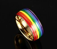Pride ring Gay Rainbow Jewelry titanium steel LGBT golden Lovers Lesbian