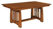 Amish Mission Craftsman Trestle Dining Table Jamestown Rectangle Solid Wood