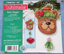 Dimensions Whimsies BEAR HANGER Christmas Counted Cross Stitch Ornament Kit