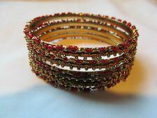 Lot of 4 Indian Bangle Bracelets Gold Tone with Red Beads Squiggle Design