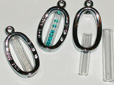 1 fillable Glass OVAL Pendant tube bottle vial locket necklace charm *~