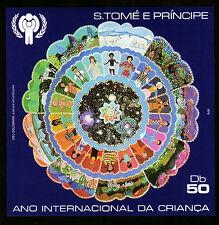 Sao Tome' + principe BL. 34 **, internamente. anno del bambino 1979, la terra con bambini