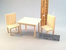 Dollhouse miniature 1/12th scale unpainted table and 2 chairs for child