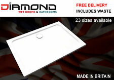 Slimline 40mm 1200x760 DIAMOND Stone Shower Enclosure Tray Rectangle Free Waste