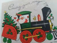 1950-60s Vtg SANTA In TRAIN REINDEER In Caboose CHRISTMAS GREETING CARD