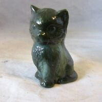 Boyd studio Green slag glass cat figurine
