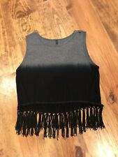 Womens Boutique Crop Top Fringe Ombre Gray And Black Size Medium