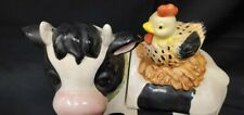 Coco Dowley Black White Cow with Hen Cookie Jar