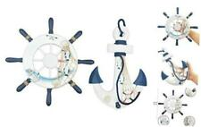 """Nautical Decor 2 Pack 13"""" Wooden Ship Wheel and Wood Anchor with Rope 1"""