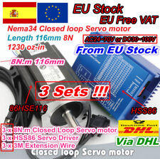 【ES】3x 8N.m Nema34 116mm Closed Loop Servo Motor 8nm 6A&HSS86 Driver 70V CNC Kit