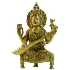 Figura latón Sarasvati 17cm Hinduismo deiosa religión India decoración