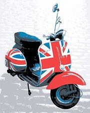 "10"" x 8"" UNION JACK FLAG VESPA SCOOTER BRIGHTON MODS METAL PLAQUE TIN SIGN N118"