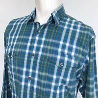 Banana Republic Plaid Casual Shirt Mens Large Slim Fit Blue Green Plaid