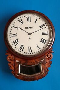 #023 ANTIQUE LATE 1800s (KEMP) MAHOGANY CASED 8 DAY WIRE FUSEE DROP DIAL WALL CL
