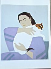 Will Barnet Poster Woman and White Cat Offset Lithograph 16x11