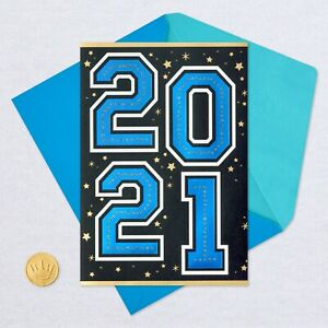 Hallmark Graduation Cards ~ Class of 2021 DATED Blue Foil Numbering w/Gold Stars