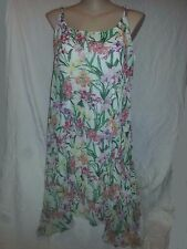 Pleated lined pink green tropical Flowing summer Tea party dress size 22 NEW