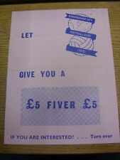 1972/1973 Birmingham City: A4 Advertising Leaflet For The Birmingham Lottery, Lo