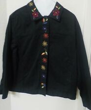Ladies Womens Bechamel Embroidered Flowers Twill Jacket Black Size Large