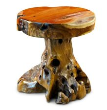 Root Wood Table 15 11/16in Side Tree Trunk Wooden Teak Stamm Rustic