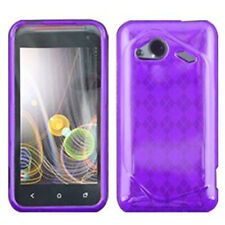 For HTC Droid Incredible 4G LTE TPU CANDY Gel Flexi Skin Case Cover Purple Plaid