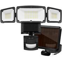 Solar Lights Safe Secure, Motion Sensor Outdoor Waterproof Adjustable 3 Heads