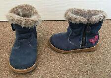Infant Girls Next Blue Faux Suede Ankle Boots Faux Fur Trim Winter Size 4 SB17