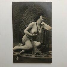 VINTAGE ORIGINAL Art Deco Topless Flapper Nylons REAL PHOTO c1920 FRANCE  RPPC