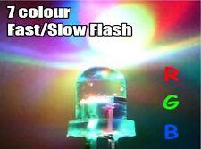3/5/10mm Ultra Bright 3V Clear RGB LED Bulbs 7 Colour Flash Flashing