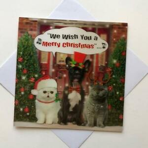 3D HOLOGRAPHIC CLOSE UP CHRISTMAS NEW GREETING CARD - OPEN CATS AND DOGS