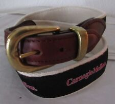 YRI Leather Tab Carnegie Mellon Print Ribbon Canvas Belt Size 30 USA Made