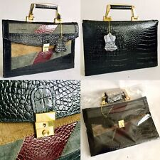 "Superb Ladies Small Italian Leather & Suede Briefcase (14""/36cm x 9""/24cm, 725g)"